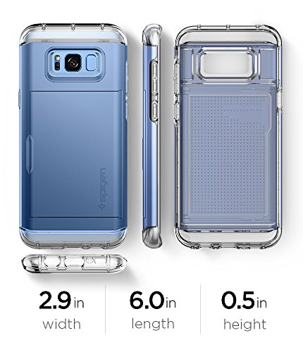Spigen Crystal Wallet Galaxy S8 Case with Slim Dual Layer Wallet Design and Card Slot Holder for Galaxy S8 (2017) - Coral Blue by Spigen (Image #9)