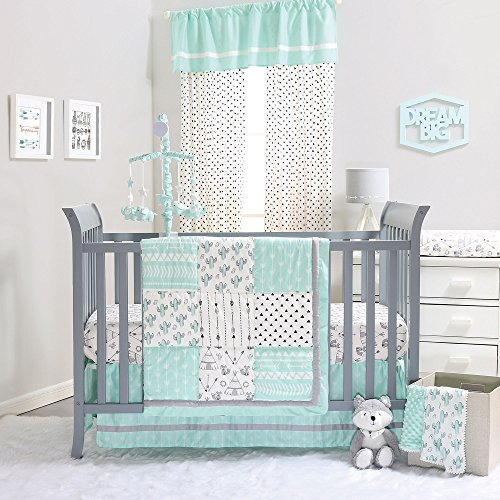 Mint Green Southwest Patchwork 4 Piece Crib Bedding Set by The Peanut Shell