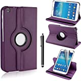 Samsung Galaxy Tab 3 8.0 Cover Case,Beebiz 360 Degree Rotating Pu Leather Flip Folio Case Stand Cover for Samsung Galaxy Tab 3 8.0 Inch (T310) Tablet Protective Skin Shell with Screen Protector and Touch pen(Purple)