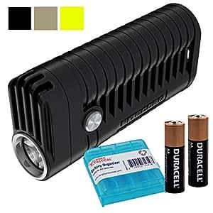 Nitecore MT22A 260 Lumen LED Compact AA Battery Powered Flashlight PLUS 2x AA Batteries & LumenTac AA Battery Organizer (Black)