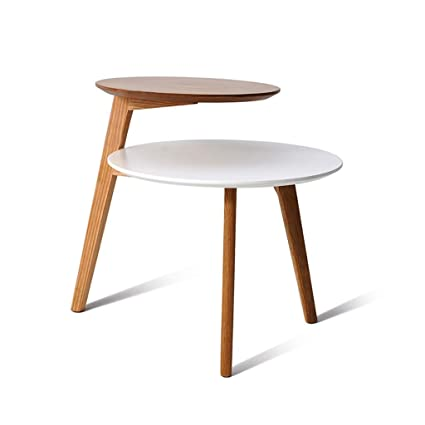 Gzll Round Wood Shelf Storage Coffee Table Modern Side End Table