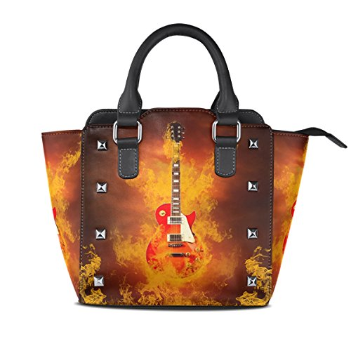 Messenger Tote Shoulder Handbags Rock For LIANCHENYI Fire Bag Handle Crossbody Women Of In Guitar Flames PU Single Leather Top Bags qanwCx1BF