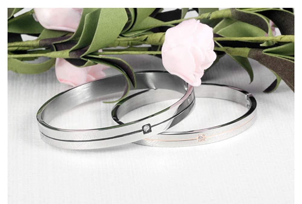 Free Personalized Silver Bracelet for Men Women Stainless Steel Groove Bangle CZ Inlay High Polish