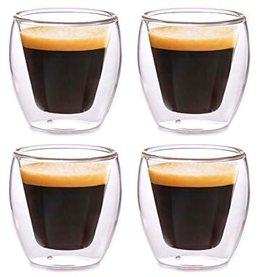 Clevercafé Milano 2 oz Double Wall Glass for Espresso or Spirits, Set of 4