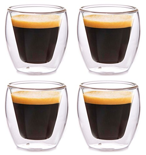 Clevercafé Milano 2 oz Double Wall Glass for Espresso or Spirits, Set of 4