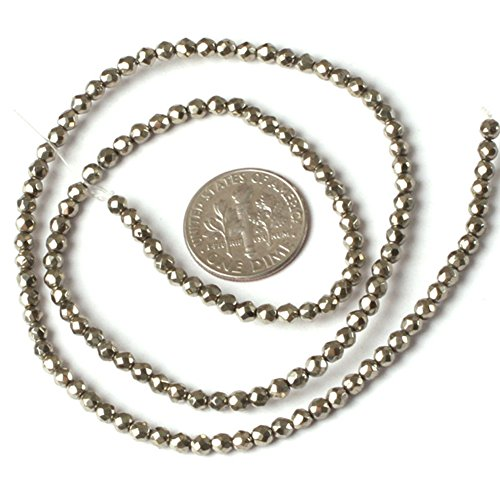 - JOE FOREMAN 3mm Pyrite Semi Precious Stone Round Faceted Silver Gray Loose Beads for Jewelry Making DIY Handmade Craft Supplies 15