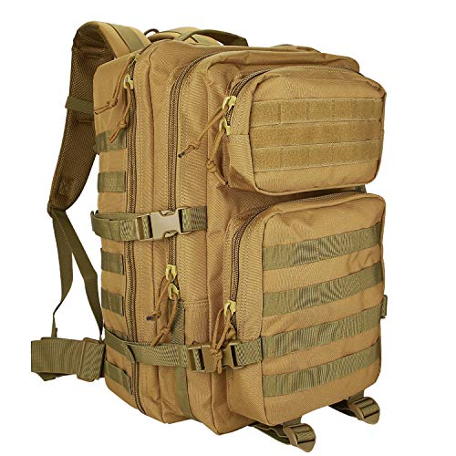 ProCase Tactical Backpack, 40L Large Capacity 3 Day Military Army Assault Pack Bag Rucksacks for Hunting, Trekking and Camping and Other Outdoor Activities -Khaki