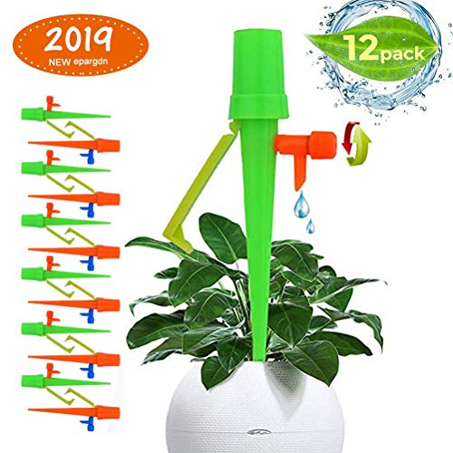 (Plant Watering Devices - 12 Pack, Plant Self Watering Spikes, Candywe Plant Waterer with Anti-tilt Bracket & Valve Control Switch,Slow Release Drip Irrigation Watering System for Outdoor Indoor Plants)