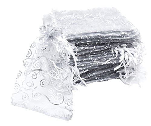 Set of 100,5x7 Inches Sheer Organza Drawstring Pouches with Vines Printing for Festival Wedding Party Favor Candy Wrap Bags by JSSHI (White with Silver Vines)