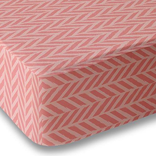 Coral Herringbone Crib Sheet for Boys and Girls - Double Brushed Ultra Microfiber Luxury Crib Sheet Set By Where The Polka Dots Roam. Fits a Standard 52 mattress