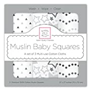 SwaddleDesigns Cotton Muslin Squares, Set of 3, Sterling Starshine Shimmer