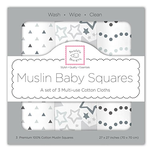 SwaddleDesigns Cotton Muslin Squares, Set of 3, Sterling Starshine Shimmer