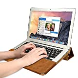 Macbook Air 13 inch Case, Jisoncase One-piece designed Vintage Leather Folio Flip Case Sleeve with Stand Function for Apple Macbook Air 13