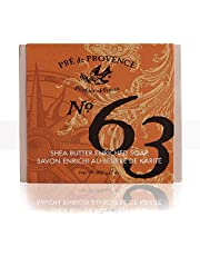 No. 63 Men's 200 Gram Cube Soap, Aromatic, Warm, Spicy Masculine Fragrance, Quad-Milled For Long Lasting Soap & Enriched With Shea Butter