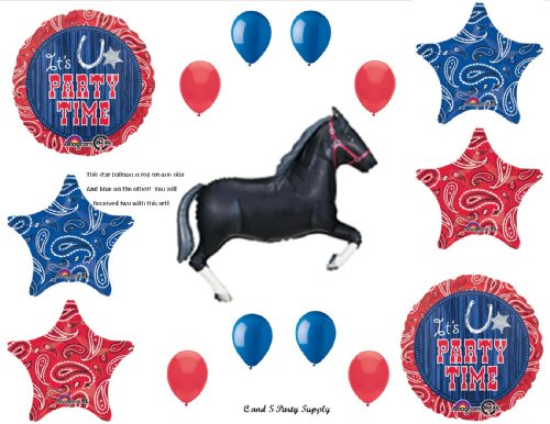 WESTERN HORSE BANDANA Birthday PARTY Hoedown Rodeo Balloons
