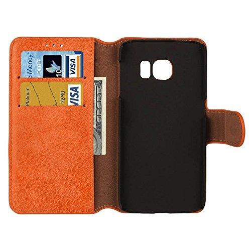 Funda Iphone, Para Samsung Galaxy S6 Edge Frosted Textura horizontal Flip caja de cuero con ranuras para tarjetas y cartera y titular ( Color : Orange ) Orange