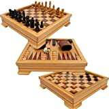 Trademark Games 12-2072 Deluxe 7-In-1 Game Set Chess Backgammon Etc Brown