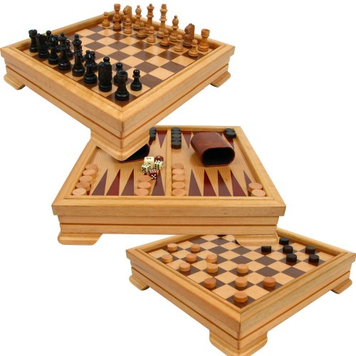 Wood Board Chess Deluxe - Trademark Games Deluxe 7-in-1 Game Set - Chess, Checkers, Backgammon and More, Brown