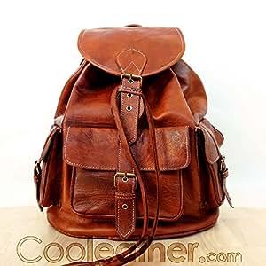 Amazon.com: Handmade Vintage Tan Leather Backpack, Large