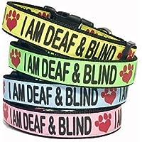 I AM DEAF & BLIND Dog Collar, Safety, Awareness, Help prevent Accidents, Warning, Dog Collar, Deaf Dog, Blind Dog