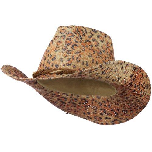 [Leopard Print Raffia Cowboy Hat - Leopard Print OSFM] (Leopard Cowboy Hat)