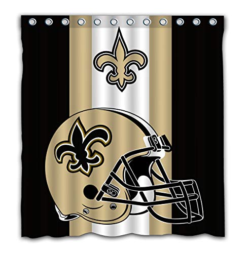 Potteroy New Orleans Saints Team Simple Design Shower Curtain Waterproof Polyester Fabric 66x72 Inches ()