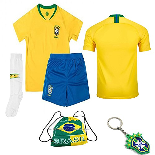 Brazil National Team Neymar Soccer Jersey Kit : Shirt, Short, Socks, Bag 2 to 13 Years Old (Brazil No Name No # Yellow, Size 20 (3-4 Yrs Old Approx.))