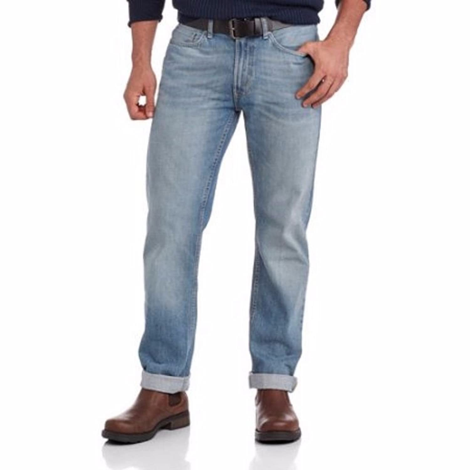 durable service George UK Men's Belted Light Wash Bootcut Jeans ...