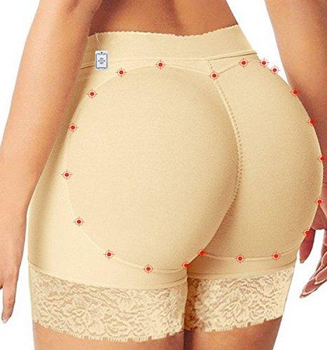 Junlan Hot Womens Butt Lifter Boy Shorts Shapewear Butt Enhancer Control Panties (L, Beige Lace)