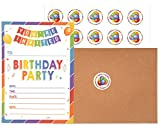 Birthday Invitations with Envelopes and Stickers (25 pack) | Kids Rainbow Party Invites | Colorful Birthday Invitations Cards for Boys and Girls.