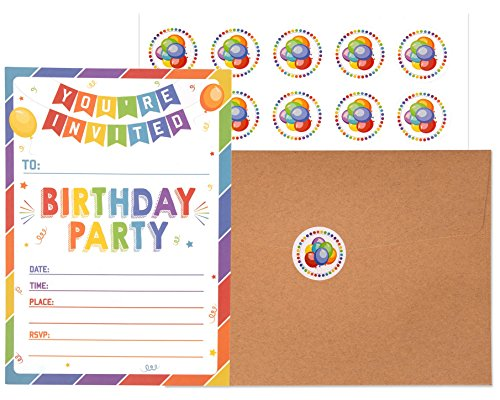 Birthday Invitations with Envelopes and Stickers (25 pack) | Kids Rainbow Party Invites | Colorful Birthday Invitations Cards for Boys and Girls. by VNS Creations