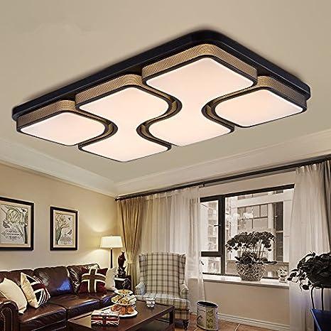 ETiME 45W 64x43CM Design LED Deckenlampe Warmweiß Deckenleuchte Wohnzimmer  Lampe Schlafzimmer Küche Leuchte 2700K Schwarz Rechteck (64x43CM 45W ...