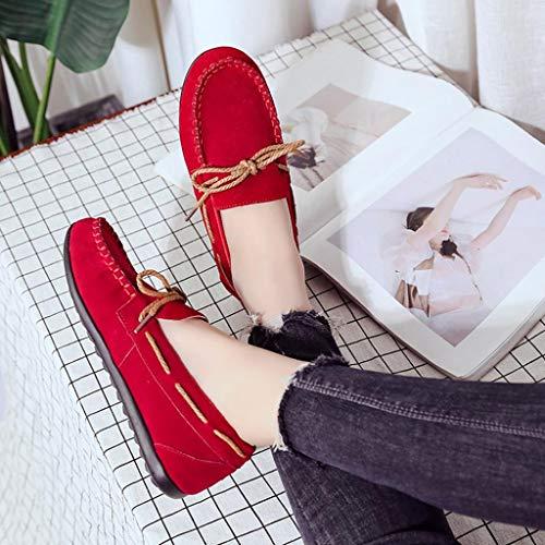 t L'automne Femmes Pour Rouge Merceditas Chaussures Casual Qinmm Confortables Plates Mocassins qPYtw0n