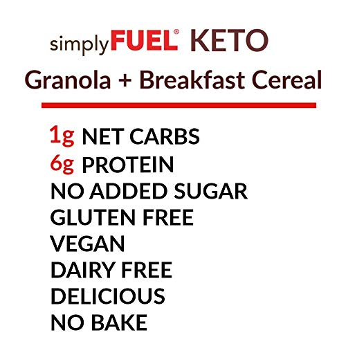 simplyFUEL KETO Granola | Low Carb Keto Cereal | 1 g Net Carbs | No SUGAR | Gluten Free | Vegan | MCT Oil | Trail Mix | 11 oz