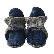 bume baby Navy & Grey cozy Warm Infant Baby Fleece Booties (3-6 Months)