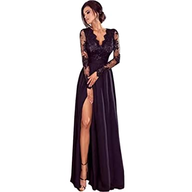 d5407f1909fe Chady Sexy Deep V-Neck Long Sleeves Prom Dresses 2018 Side Split Evening  Gowns Black
