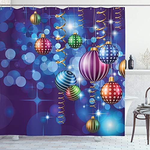 Ambesonne Christmas Shower Curtain, Happy New Year Party Celebrations with Swirling Ornaments and Balls Print, Cloth Fabric Bathroom Decor Set with Hooks, 70