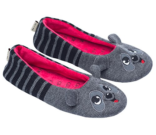 ofoot Womens Ballerina Fluffy Knit Scuff Slippers,Cute Novelty Animal Face Anti-Slip Rubber Sole House Flat Shoes(L/XL 9-10 B(M) US, Dark Gray Raccoon)