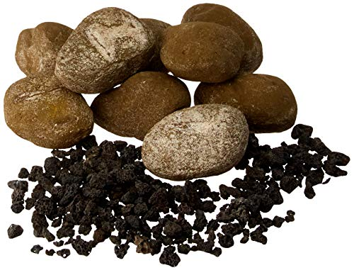 - American Fireglass AFG-LSTONE-NB-15 Nutmeg Brown Light 15 Stone Set (Includes 2 lb Small Lava Rock)