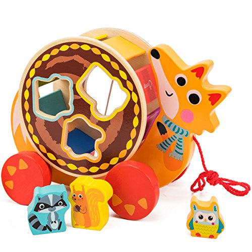 cossy Wooden Shape Sorter Pull Toy - Wooden Fox Puzzle for Toddler Learning Walk-A-Long Push & Educational Toy for 1 Year Old