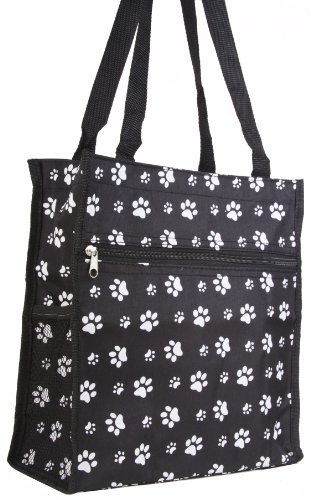(Prima Marketing Paw Print Travel Tote Bag, Black and White)