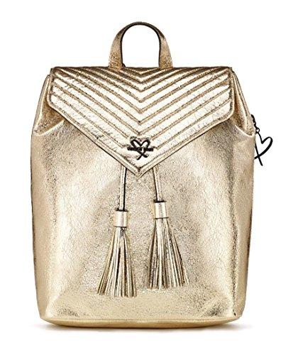 Victoria Secret Angel Backpack V-QUILT Crackle Gold Metallic Shiny Faux Leather ()