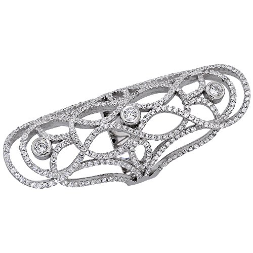 Sterling Silver Cubic Zirconia Long Ring Micro pave Curvy Lines 2 1/8 inch Long, size 7 -