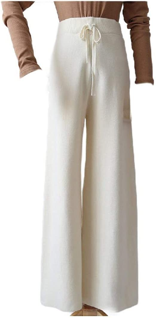 Romancly Womens High Waisted Comfort Wide Leg Straight Leg Knit Pull-on Pants