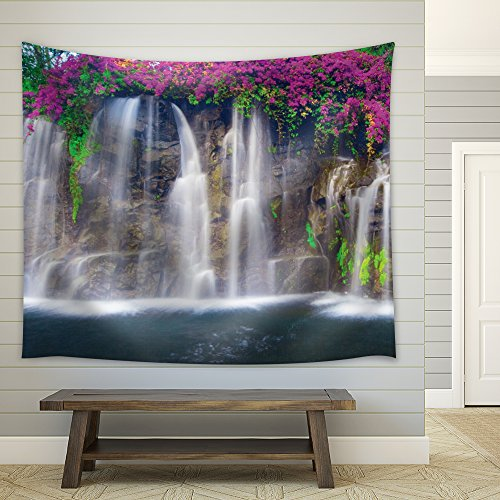 wall26 - Bouquet Purple Flowers Framing a Big Waterfall - Fabric Tapestry, Home Decor - 68x80 inches