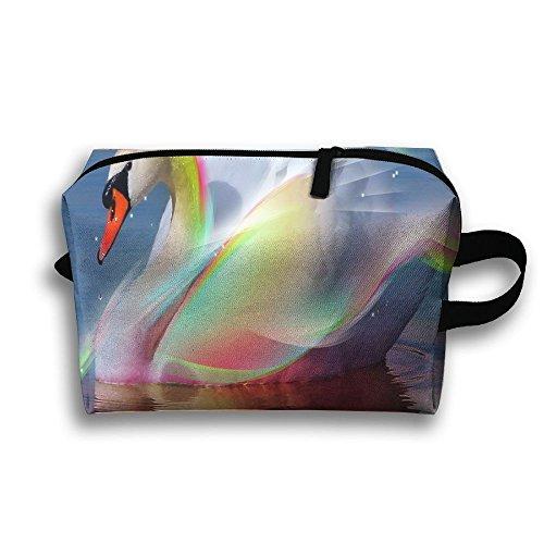 d6544ad8f057 RONG FA Beautiful Swan Shining Like Rainbow Portable Travel Makeup  Bag,Storage Bag Portable Ladies Travel Square Cosmetic Bag