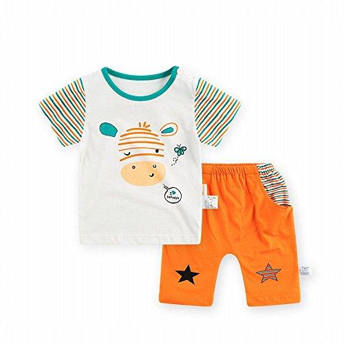 Baby Boys T-Shirt Top Pants Clothes Outfits Shorts Set(Orange,12-18 Months)