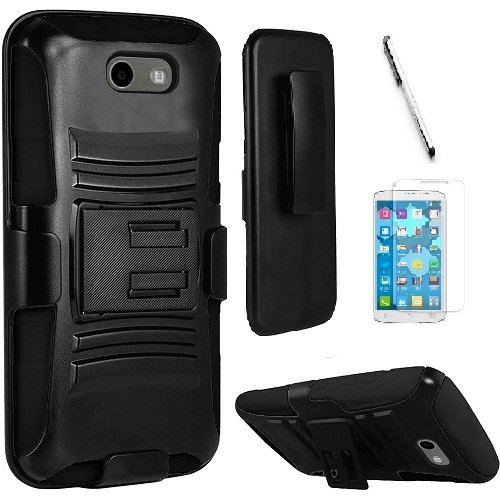 Samsung J3 Emerge, Galaxy J3 Prime (MetroPCS), Amp Prime 2 case, Luckiefind Dual Layer Hybrid Side Kickstand Cover Case With Holster Clip, Stylus Pen & Screen Protector Accessory (Holster Black) (Phone Samsung Faceplates)
