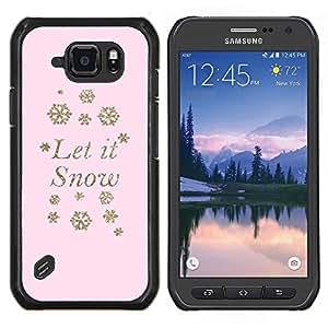 Caucho caso de Shell duro de la cubierta de accesorios de protección BY RAYDREAMMM - Samsung Galaxy S6Active Active G890A - Deja que nieve del invierno del copo de nieve de color rosa mas x