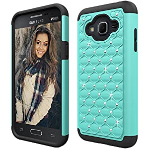 Boonix Dual Layer Case for Samsung Galaxy J3 2016, J3V, Express Prime, Amp Prime, Galaxy Sol, Sky, J36, J36V, J3 Nova, Hard PC + Soft Silicone Hybrid Protective Bumper (Crystal Mint)